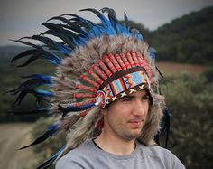 N54- Electric Blue  and dark Feather Short Headdress / Warbonnet by theworldoffeathers. Explore more products on http://theworldoffeathers.etsy.com