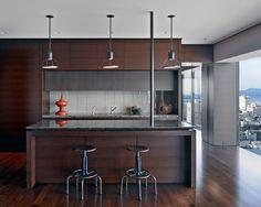 Kitchen, Stunning Modern Kitchen Cabinet Island With Dark Granite Countertop And Pendant Lamp Design Ideas Also Wooden Flooring Ideas: Kitchen Design Ideas With Granite Countertops