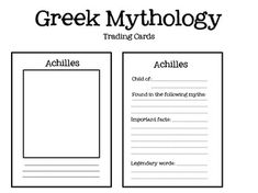 Greek Mythology Trading cards that tie in Common Core--- GENIUS! Can't wait to use them this year in the classroom!