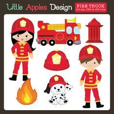 Fire Truck ClipArt / Fire Truck Clip Art / Fireman by DreamyDuck