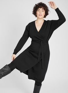 0900efbd0a7 Knitted Wrap Dress - Plus Size Clothing by Anna Scholz  knittedwrapdress   knitdress  plussizedress