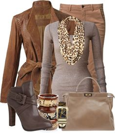 """Fendi Challenge!!!"" by helenrosemay on Polyvore  **brown jacket w/leopard scarf, top, pants/skirt**"