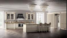 Italian White Kitchen And Beautiful Chandelier Design Id495 - Modern Italian Style Kitchen Designs - Kitchen Designs - Interior Design