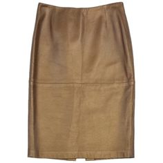 Pre-owned Ellen Tracy Bronze Leather Pencil Skirt ($164) ❤ liked on Polyvore featuring skirts, none, knee length pencil skirt, knee length leather skirt, zipper skirt, leather zipper skirt and brown skirt