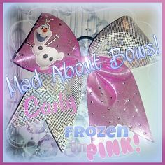 Frozen Cheer Bow Disney Olaf the Snowman OOAK by MadAboutBows1 ~ Now Also in Pink! :)