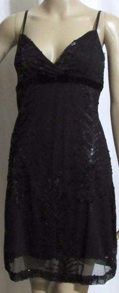 Ladies Womens FOREVER 21 Black Sequined Sheer & Lined Party Mini Slip  Dress…