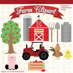 Farm Clipart By CindyandLiah Party Barnyard Birthday