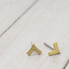 Brass Chevron Earrings Chevron Posts Chevron by PureImpressions, $18.00