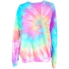 Pastel Tie Dye Sweatshirt ($30) ❤ liked on Polyvore featuring tops, hoodies, sweatshirts, tyedye shirts, tie dye sweatshirt, tie dye shirts, pattern shirts and tie dyed sweatshirts