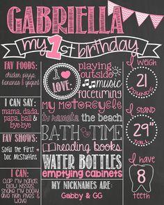 Pink and Gold First Birthday Chalkboard Poster // Girl Birthday Chalk Board // Custom Printable // Boy or Girl // Chevron Bunting Rainbow First Birthday, Gold First Birthday, First Birthday Chalkboard, Baby 1st Birthday, Birthday Board, First Birthday Parties, First Birthdays, Rainbow Theme, Birthday Bunting