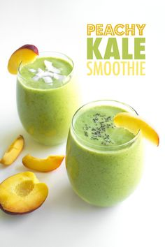 Peachy Kale Smoothie   Simple, dairy free & vegan!