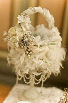 finest silks, flowers and crystal brooches, each feather is woven by hand into the basket Gatsby Wedding, Diy Wedding, Dream Wedding, Wedding Day, Wedding Wishes, Autumn Wedding, Wedding Dreams, Flower Girl Gifts, Flower Girl Basket