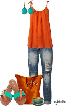 """Orange, Turquoise, Jeans Outfit """"Maggie Bag Contest"""" by angkclaxton ❤ liked on Polyvore"""