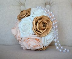 GOLD Pink BLUSH And White Flower Ball with PEARL by KimeeKouture