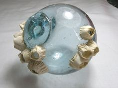 Older Japanese Glass Fishing Float with barnacles