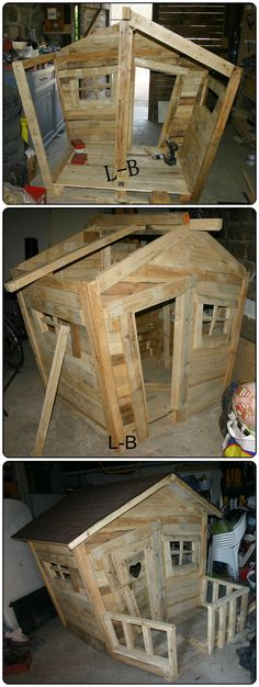 Love this children's #upcycled pallet playhouse! #ecofamilies #sustainable
