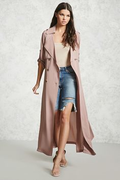 FOREVER 21+ Crepe Woven Trench Coat