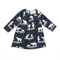 Winter Water Factory Aspen Baby Dress | Polar Bears Midnight Blue
