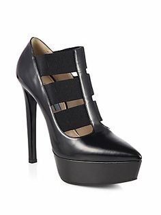 Prada Leather Banded Platform Pumps