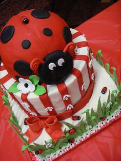 Ladybug Baby Shower cake by Sweet Pea 0613, via Flickr