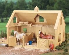 Breyer Traditional Deluxe Wood Barn w/ Cupola (Horse & Accessories Sold Separate) -New-Factory Sealed. Breyer Traditional Series Horse Deluxe Wood Barn with Cupola! The deluxe barn fits up to two Traditional Series horses. Wooden Toy Barn, Wooden Horse, Barn Wood, Toy Horse Stable, Horse Barns, Horse Stables, Horse Tack, Making Wooden Toys, Homemade Toys