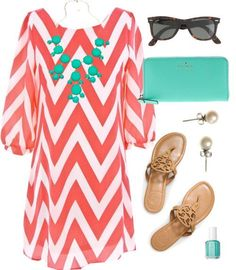 Coral  Tiffany by classically-preppy featuring essie nail color ❤ liked on PolyvoreBlack and white dress / Tory Burch polish shoes / Kate Spade leather bag / Blu Bijoux yellow gold necklace / J.Crew white pearl earrings / J.Crew j crew / Essie  nail color