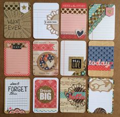 smw pl Dozen Handmade Project Life Cards by jessicabree on Etsy Project Life Scrapbook, Project Life Layouts, Project Life Cards, Project Life Album, Pocket Page Scrapbooking, Scrapbooking Layouts, Scrapbook Cards, Atc Cards, Journal Cards