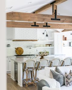 Looking for Country Kitchen ideas? Browse Country Kitchen images for decor, layout, furniture, and storage inspiration from HGTV. Grand Kitchen, Kitchen And Bath, Open Kitchen, Kitchen Hoods, Hygge, Beach House Decor, Home Decor, Beach Houses, White Brick Walls