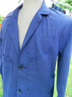 Vintage 40-50s French Blue Work Chore Workwere Jacket Heavy Cotton