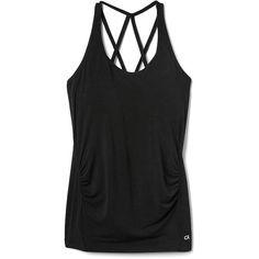 Gap Women Gapmaternity Breathe Strappy Shelf Tank ($25) ❤ liked on Polyvore featuring activewear, activewear tops, regular, true black, gap activewear, logo sportswear and gap sportswear