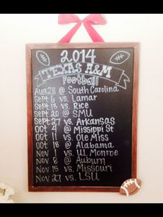 Chalkboard Hanging Wall Sign with Football Team Schedule