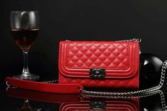 Chanel Samsung Galaxy S5 Leather Case Cover Red W Mirror Free Shipping - Deluxeiphonecase.com