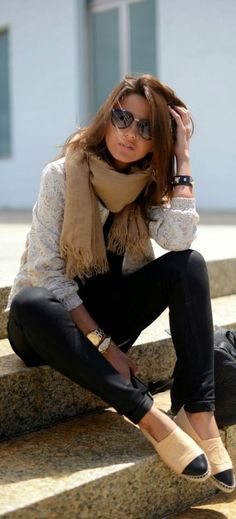 Lace shirt,camel scarf and black pant (You forgot her fab flats by CHANEL) LaFem