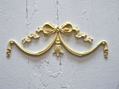FURNITURE ARCHITECTURAL APPLIQUE BOW SWAG-WOOD & RESIN-STAINABLE-PAINTABLE-NEW!
