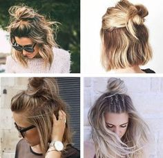 New hair styles long top knot Ideas Short Hair Top Knot, Medium Hair Styles, Curly Hair Styles, Cute Medium Length Hairstyles, Corte Y Color, Pinterest Hair, Hair Looks, Bob Hairstyles, Pretty Hairstyles