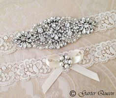 SALE 10% OFF Wedding Garter set Bridal Garter set by GarterQueen