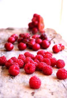 raspberries and cherries