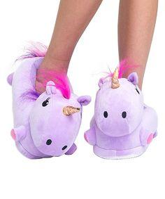 Purple Unicorn Plush LED-Light Slippers