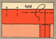 In-depth hem techniques. Includes good example of easing in fullness. From Coats & Clark, 1959. #sewing #vintage