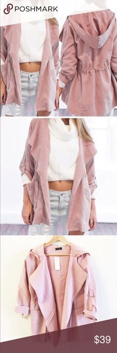 light weight soft bluish pink outerwear Super soft, like light suede feelings. True to size. Great for a cover up, sun covers, or light jacket. Very light, great for late summer and early spring Jackets & Coats