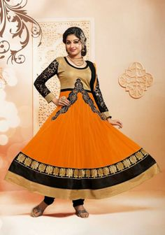 Color: Dark Yellow, Black Collection: SEM154 Type: Semi Stitched Anarkali Suit Top: Georgette,Heigth 48,Chest 48 Bottom: Semi Santoon 2.25 Mtr Dupatta: Nazneen Inner: Semi Santoon 1.90 MTS Work: Embroidered, Patch Border,Strip Work Weight: 1 k.g Season: Any Occasion: Traditional Wear, Occational Wear,Ethnic Wear,All Festival Time to Ship: Ready To Ship