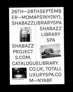 thisiscatalogue:  One week today we will launch Library Paper 05 at the New York Art Book Fair. We are sharing a table with our good friends Shabazz Projects and Total Luxury Spa. Come along and say hi.
