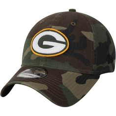 eceda459749 Men s Green Bay Packers New Era Woodland Camo Primary Logo Core Classic  9TWENTY Adjustable Hat