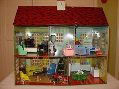 Vintage Tin Litho Metal Dollhouse Ideal Renwal Marx Plasco Doll House Furniture