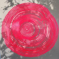 Neon Pink Tree Rings Drawing in Vinyl Tape by cherylsorg on Etsy