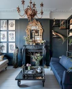 36 Perfect Victorian Sofa Ideas For Elegant Living Room Gothic Living Rooms, Dark Living Rooms, Bohemian Living Rooms, Victorian Living Room, Living Room Decor Grey Sofa, Art Deco Interior Living Room, Blue And Gold Living Room, Art Deco Room, Gothic Interior