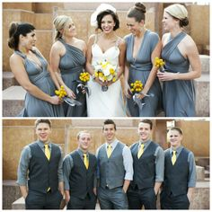 I love the grey and dark grey groomsmen. Nice way to match the bridesmaids without being boring.:Like the darker gray for groomsmen. Yellow Grey Weddings, Gray Weddings, Yellow Wedding, Wedding Colors, Wedding Styles, Dream Wedding, Wedding Poses, Wedding Attire, Wedding Ideas