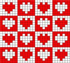 filet crochet heart motifs