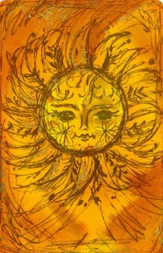 Vintage MOD Sketch SUN Design Playing Card