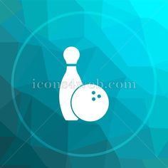 Bowling low poly button. Bowling low poly icon. Blue icon on low poly background. Royalty free image. Available in various sizes.